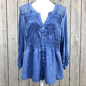 "Anthropologie Top Meadow Rue ""Eiley"" Blue L NWT"